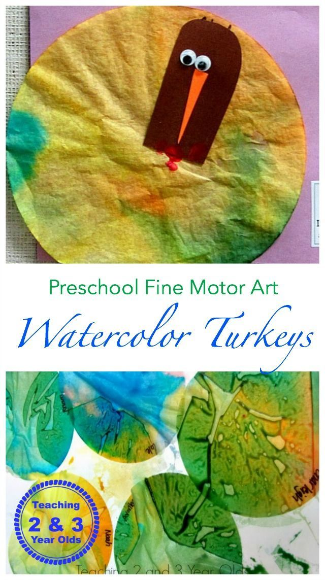Our Thankful Turkey - lots of fine motor going on to make these colorful watercolor turkeys! From Teaching 2 and 3 Year Olds