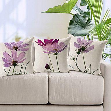 Set of 3 Elegant Light Purple Floral Pattern Cotton/Linen Decorative Pillow Cover – USD $ 41.99