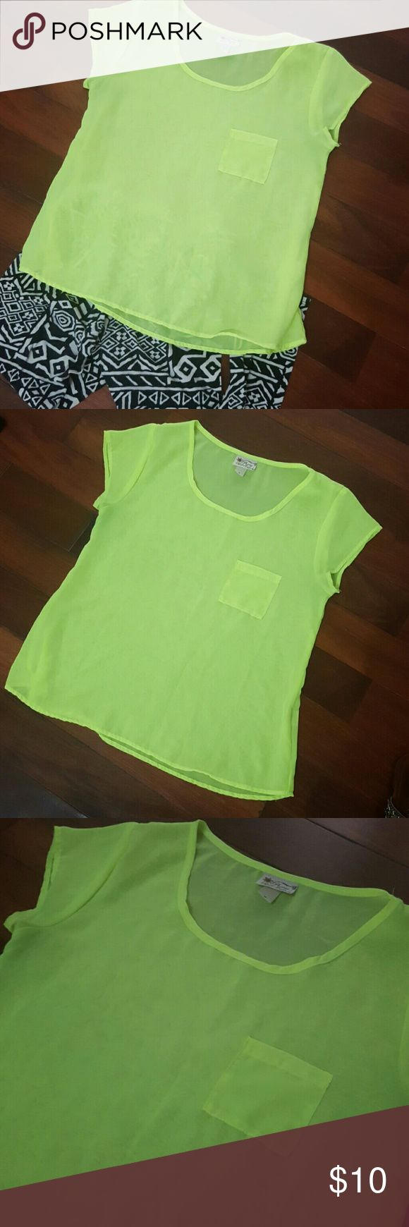 Neon Yellow Top NonStretchy 100% Polyester Tops