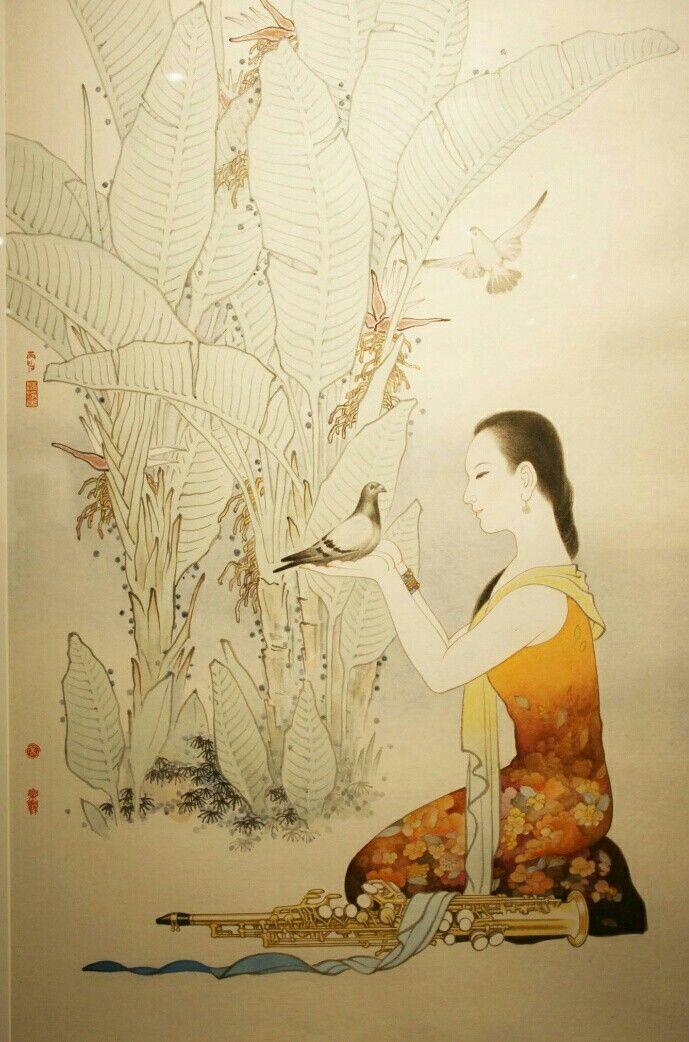Classic art , girl adoring  pigeon.