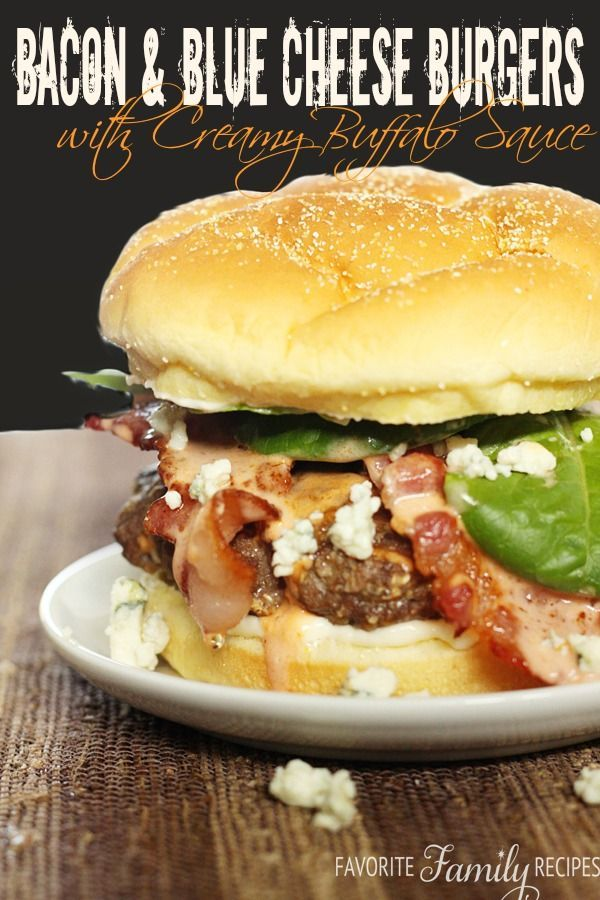 Oh mercy, these are delicious. Seriously, best burger ever. The blue cheese and the creamy buffalo sauce.. and the bacon... oh my. #burger #groundbeef #recipe