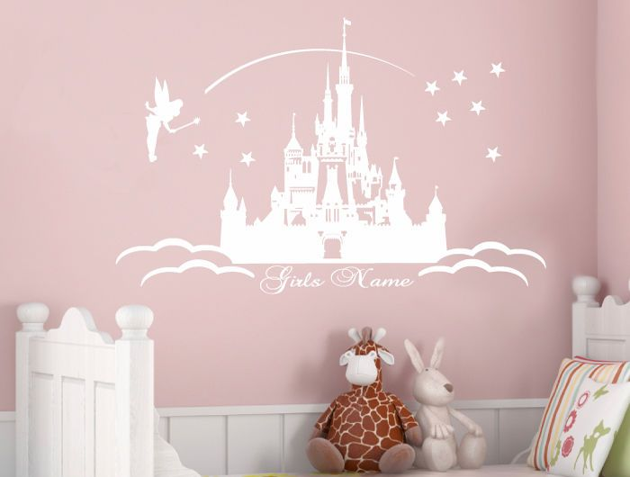 Princess Castle Wall Stickers personalised girls name disney gift, cinderella | eBay