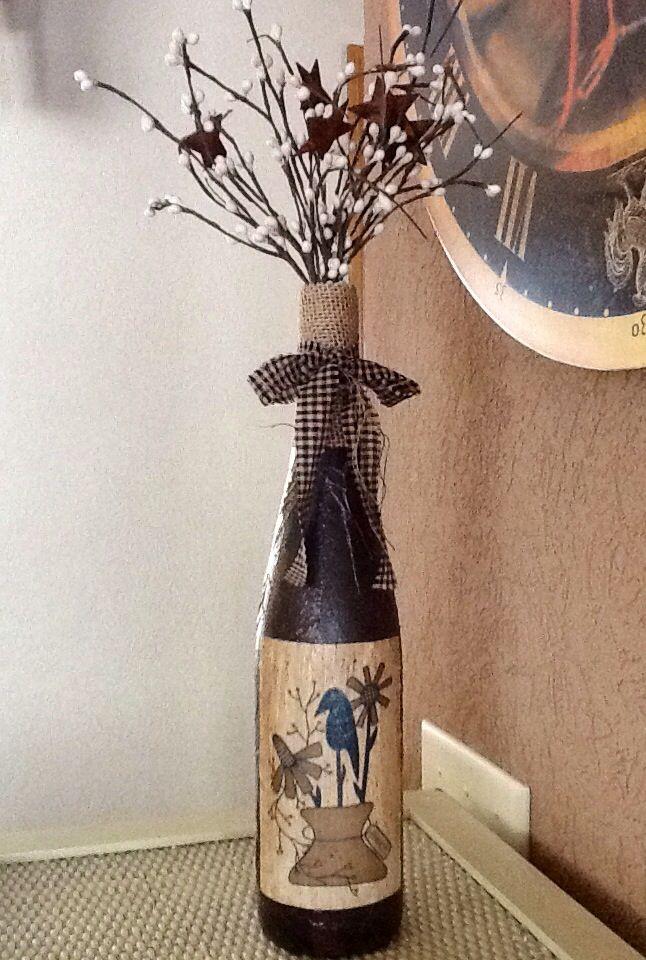Primitive diy wine bottle my handmade crafts pinterest for Diy wine bottle crafts pinterest