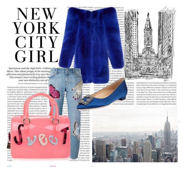 """New York City Girl"" by roxana97 on Polyvore featuring Oris, Yves Saint Laurent, Alexander McQueen, Manolo Blahnik and Furla"