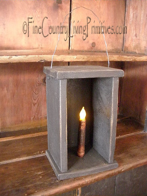 Primitive Handcrafted Wooden Candle Lantern Made in USA $45
