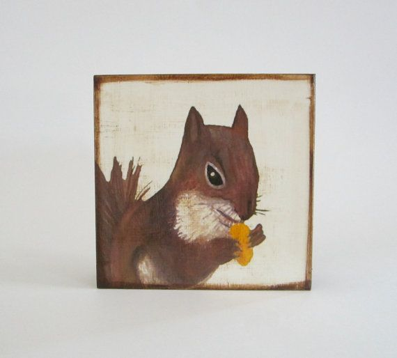 Art Block Squirrel 2 5x5 on wood walnut nature by redtilestudio