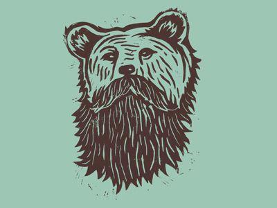 Bearded Bear digital stencil art.