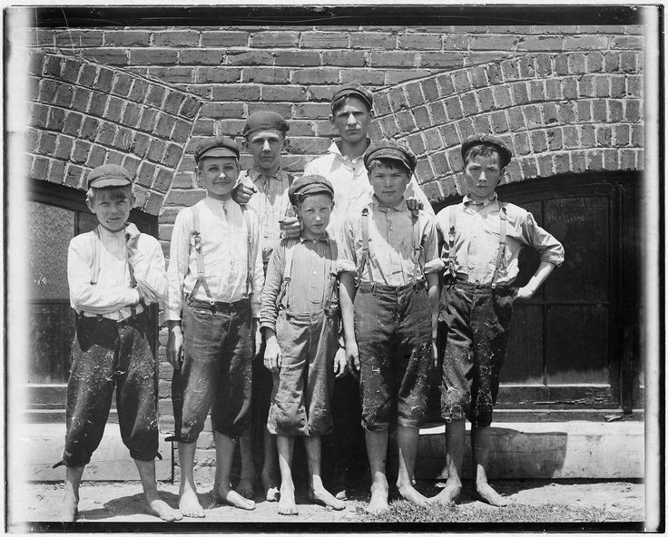 Doffer boys in Aragon Mills, Rock Hill, South Carolina, photographed by Lewis Hine on 13 May 1912