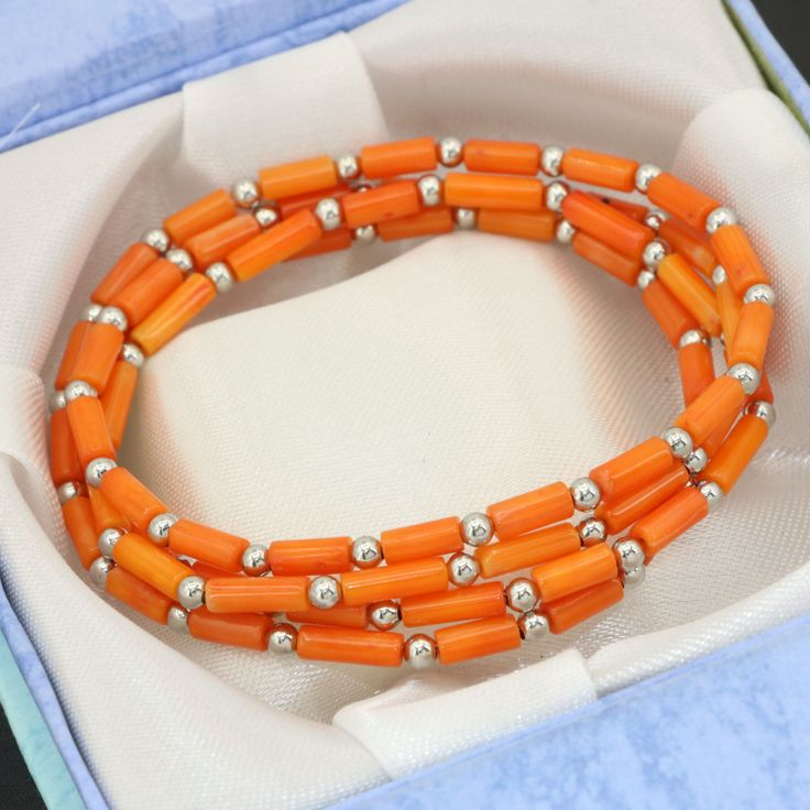 Long chain multilayer bracelets 4 rows natural orange coral tube beads 3*7mm weddings gifts magnetic clasp jewelry B2792