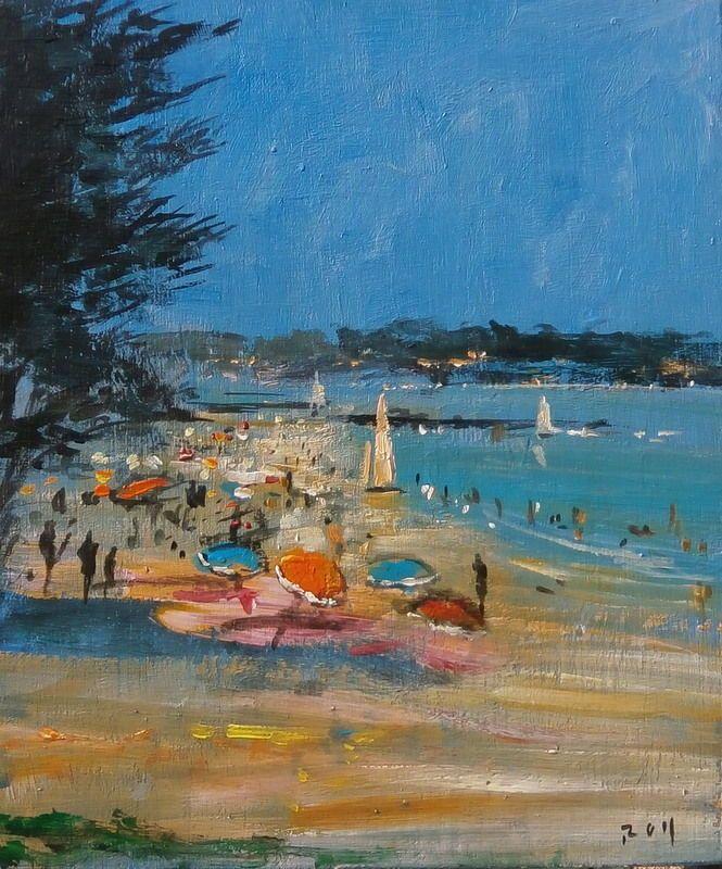 Bretagne Fouesnant LA Plage DU CAP COZ Belle Marine Peinture Signée ROY   eBay