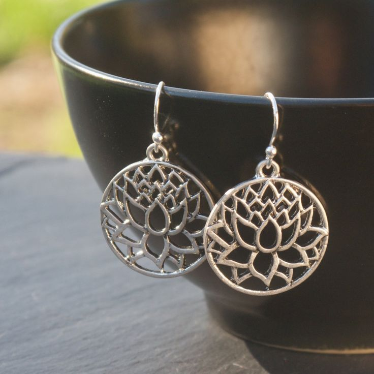 Lotus Earrings, Yoga Earrings, Yoga Jewelry, Lotus Jewelry, Buddhist Jewelry. $12.00, via Etsy.