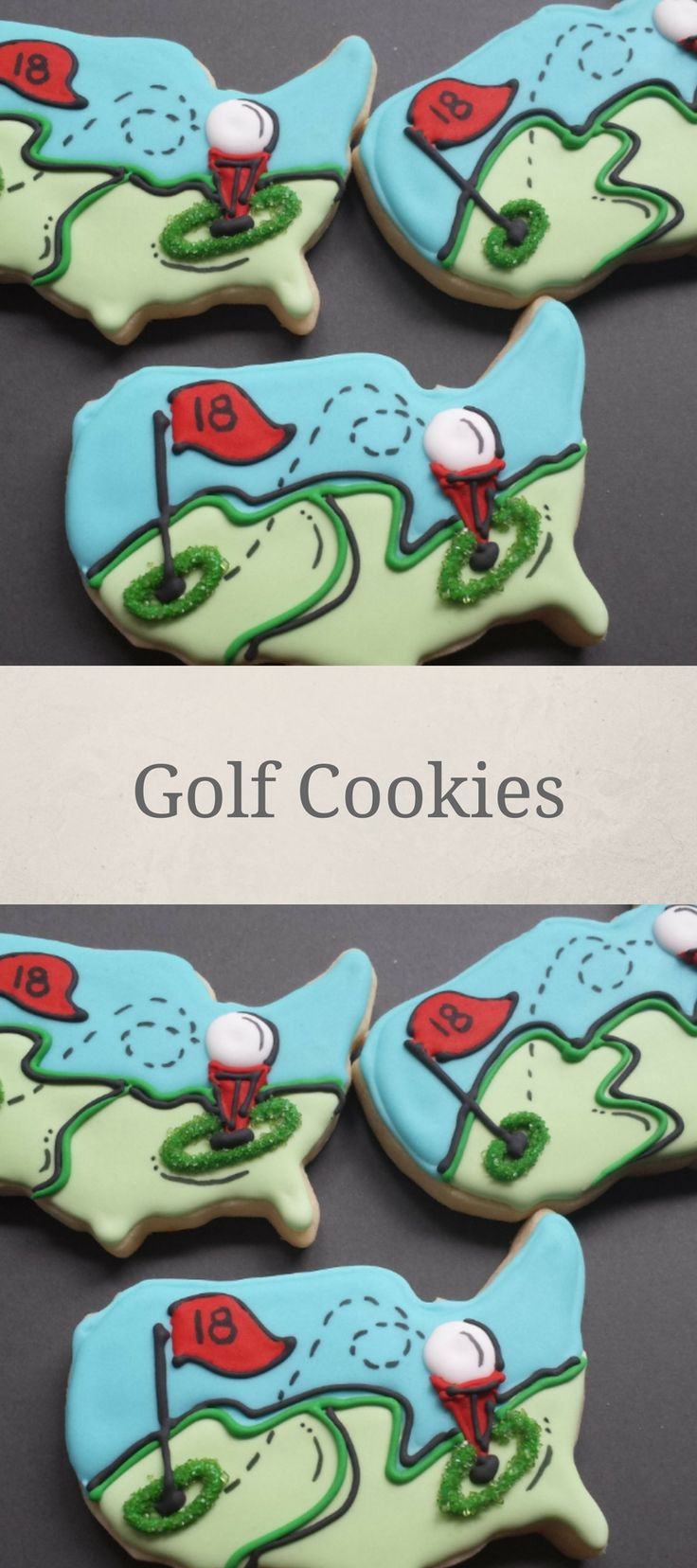 Golf Sport Custom Sugar Cookies, Sports Outdoor America Country Golf Shape Cookies, Father's Day Golf Party Favors, Country Club Golf field #affiliate