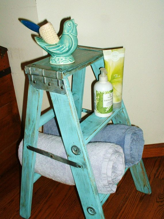 Vintage Wood Step Ladder Stool Upcycled For Home Decor