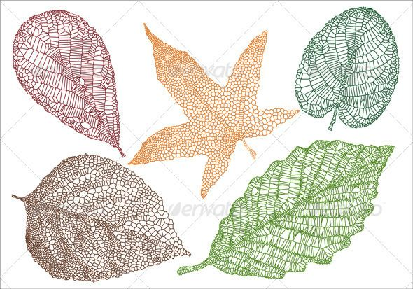 Textured Leaves, Vector Set