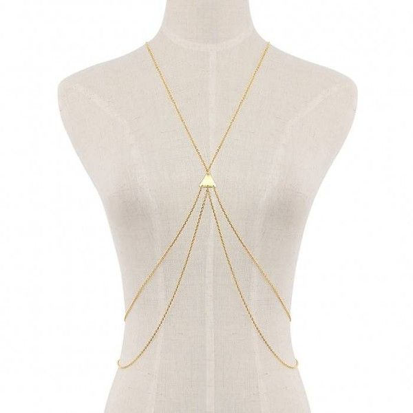 Yoins Body Chain Harness (280 RUB) ❤ liked on Polyvore featuring jewelry, body jewelry, gold, gold jewelry, body chain jewelry, gold jewellery and gold body jewelry