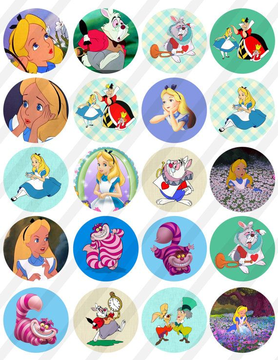 INSTANT DOWNLOAD  Alice in Wonderland  8,5X11  Digital Collage Sheet to cupcake Toppers, 2in circles