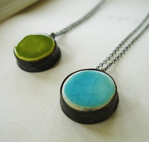 Mini Ceramic Picture Pendant in Moss Green or by elisasherejewelry, $60.00