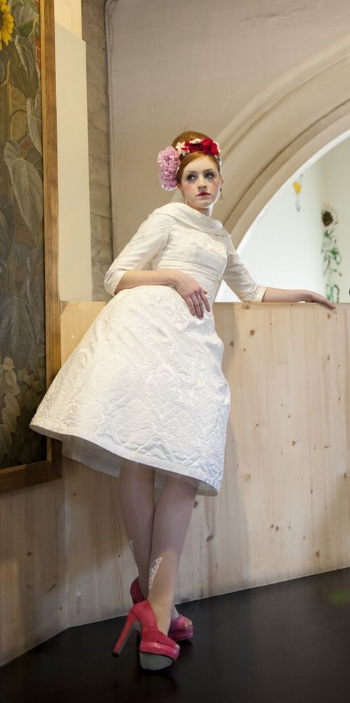 Image of SAMPLE SALE: silk damask 1960s style short wedding dress sample size…