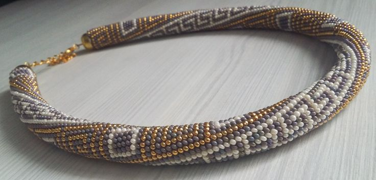 Exquisite Greek pattern croched beaded rope necklace by MariaBeadsDesign on Etsy