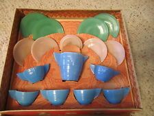 16 Piece Vintage Akro Agate Child's Glass Dishes W/Box!!!