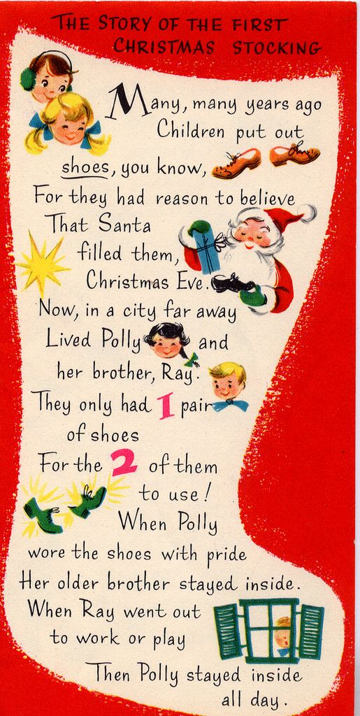 Pin 1 of 2. The story of the First Christmas Stocking. Cute Vintage. Could print & insert in Cmas cards, stockings, or a simple sock present
