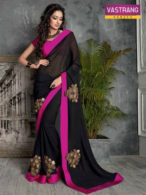 Black Embroidery bordered Saree with Designer Pallu and Blouse @ http://goo.gl/JIaIwf