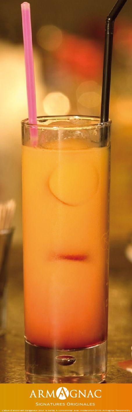 Cocktail #BlancheArmagnac   Blanche Sunrise:  4 cl de Blanche Armagnac  15 cl de jus d'orange 1 trait de grenadine