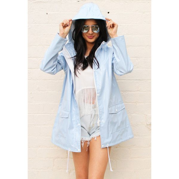 OneNationClothing PVC Festival Raincoat Mac (€48) ❤ liked on Polyvore featuring outerwear, coats, blue raincoat, pvc rain coat, hooded rain coat, pvc raincoat and waterproof coat