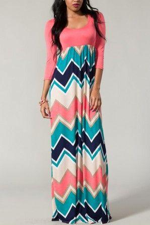 New Beginnings Chevron Maxi Dress