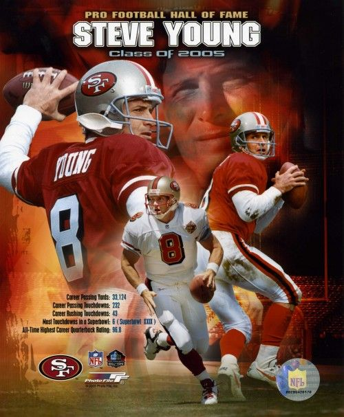 steve young | Steve Young San Francisco 49ers 8x10 Photo (Career Stats Collage)