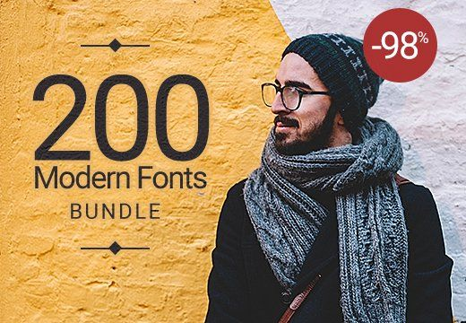 200 Modern Fonts come to the rescue just for you. These fonts are perfect for branding, headings, logos, blogs, t-shirts, letterheads, merchandise, signs, labels, newsletters, posters etc. All you have to do is to put your imagination to the test and see what happens. You have numerous possibilities just create! *Type of file: OTF format. This pretty bundle comes with an extended license so you don't have to worry. Take a look at what you get: