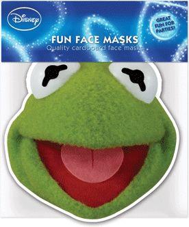 Kermit de kikker masker. Een leuk gezichtsmasker van karton met de afbeelding van Kermit de kikker. Voorzien van een elastiekje en geschikt voor kinderen en volwassenen.
