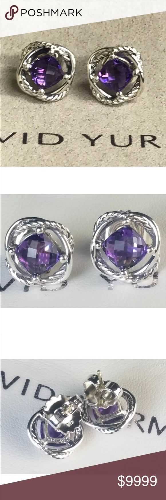 David Yurman Amethyst & Silver Infinity Earrings David Yurman Amethyst & Silver Infinity Earrings • In excellent condition. Professionally polished & cleaned to look as good as new. 7x7 mm size. Authenticity guaranteed. Please check out my other David Yurman jewelry. I have a matching DY Amethyst Infinity Ring. Bundle & Save! David Yurman Jewelry Earrings