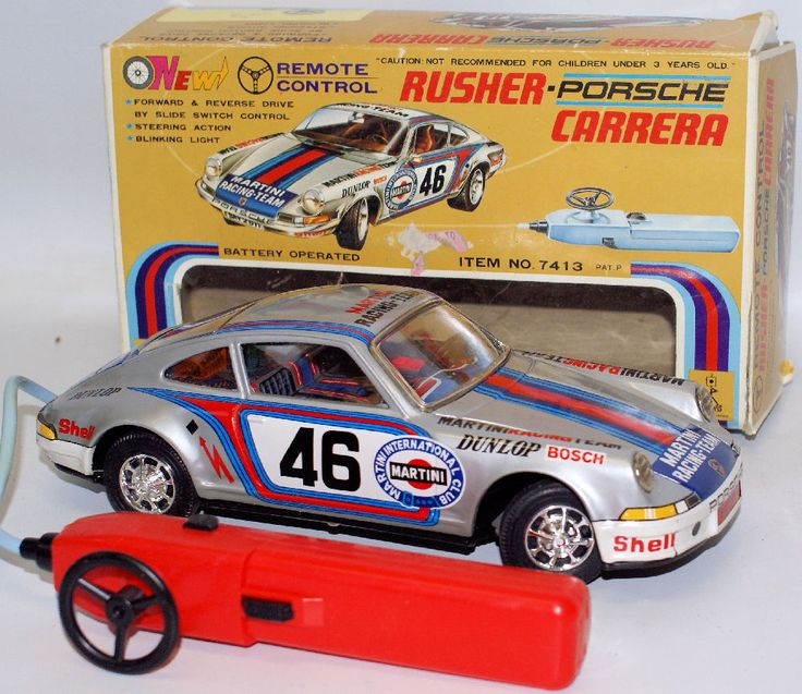 70's BO Remote Control Tin Taiyo Japan #46 RUSHER PORSCHE 911 CARRERA Martini