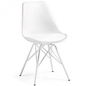 Chaise Ralf avec pieds en acier, blanc