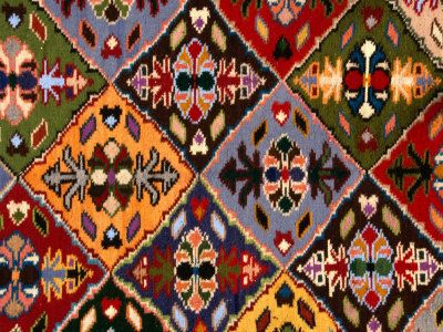 Romanian Loom-Woven Carpet Detail, Suceava,