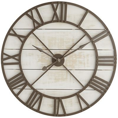 Made exclusively for Pier 1, our wall clock does more than tell time—it becomes a focal point for your living room, entryway or study wall. Substantial in size and framed on a background of wood planks, the wooden face features Roman numerals and hour/minute hands.
