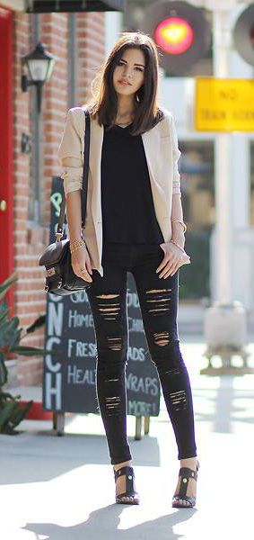 Charm's double breasted nude #blazer, love the torn leggings. #fashion