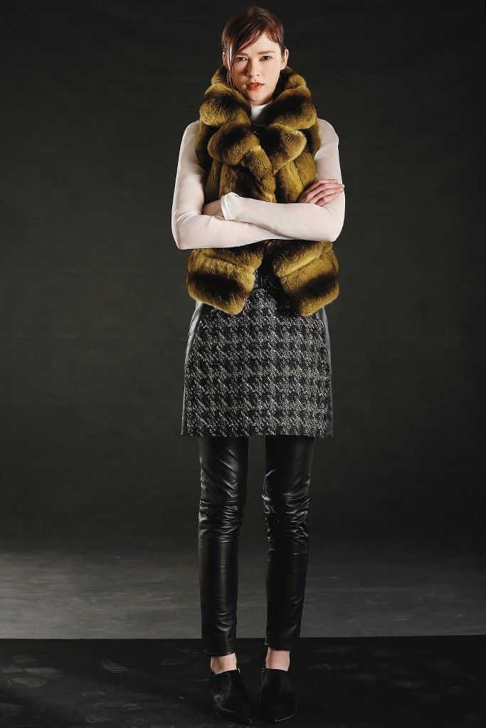 Fall 2013 Trend: Fun Fur All (J. Mendel's chinchilla vest, metallic wool sheath, silk blouse and leather pants. Sigerson Morrison booties.)