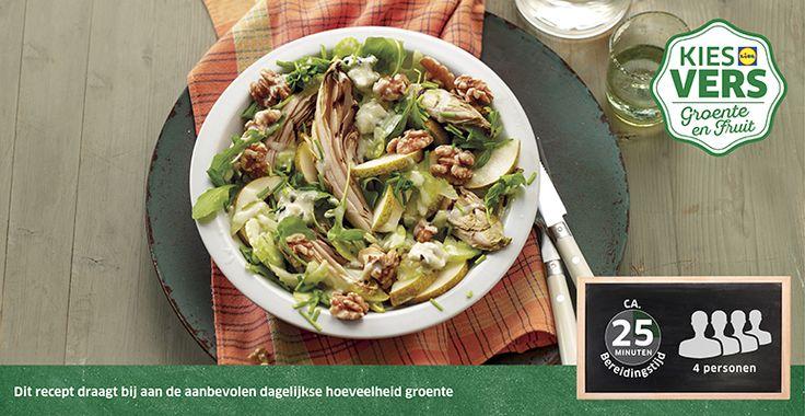 Recept voor Salade van gegrilde witlof met rucola en roquefortdressing #Lidl #Witlof