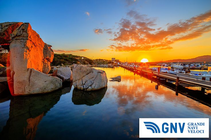 #Sunset over lake with #port in #the #background. #Sardinia, #Italy. Discover #GNV routes from/to #Sardinia here: http://www.gnv.it/en/ferries-destinations/porto-torres-ferries-sardinia.html