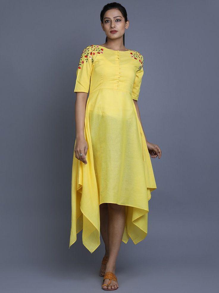 Yellow Cotton Embroidered Asymmetric Dress