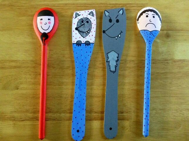 Spoon puppets red riding hood