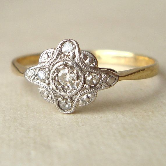 Art Deco Engagement Ring, Antique Diamond Ring, Diamond & 9k Gold Wedding Ring Approximate Size US 7.75 / 8. $398.00, via Etsy.