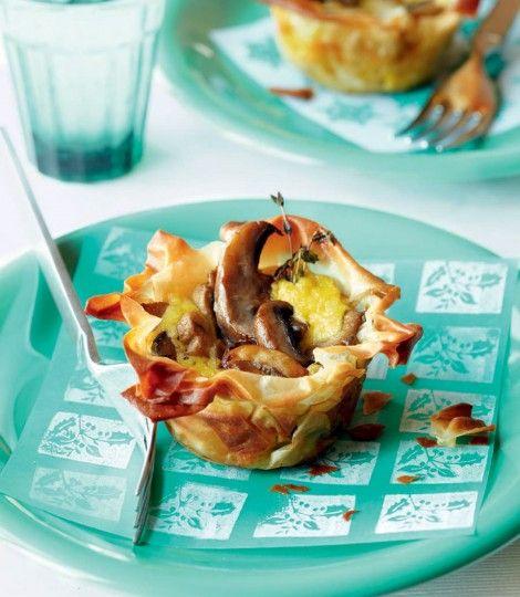 Vegetarian creamy-mushroom-tartlets