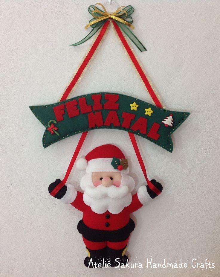 Enfeite de porta Papai Noel em feltro