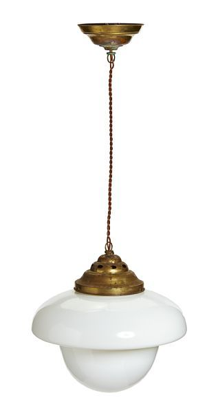 CEILING LAMP  Functionalist. 1920/1930's.  Suspension of brass. Dome opalinglass, clear glass underneath. HEIGHT 80.00 CM