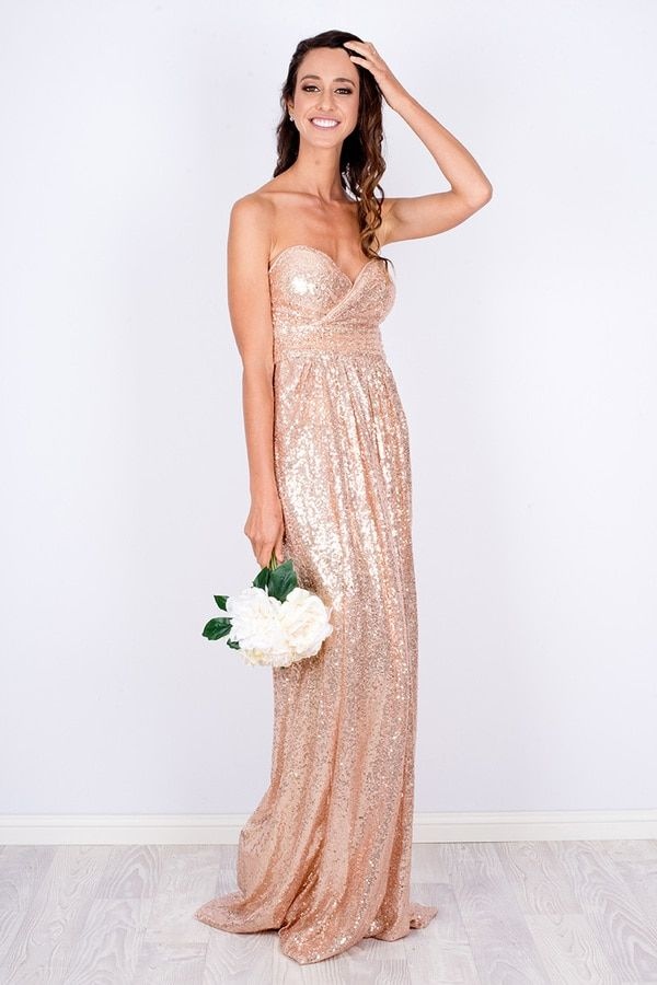 30bff8ed Custom made strapless sequin dress. Blush rose gold bridesmaid dress. Maid  of honour dress for a summer wedding. Emilie Strapless Sparkly Sequins Dress  ...