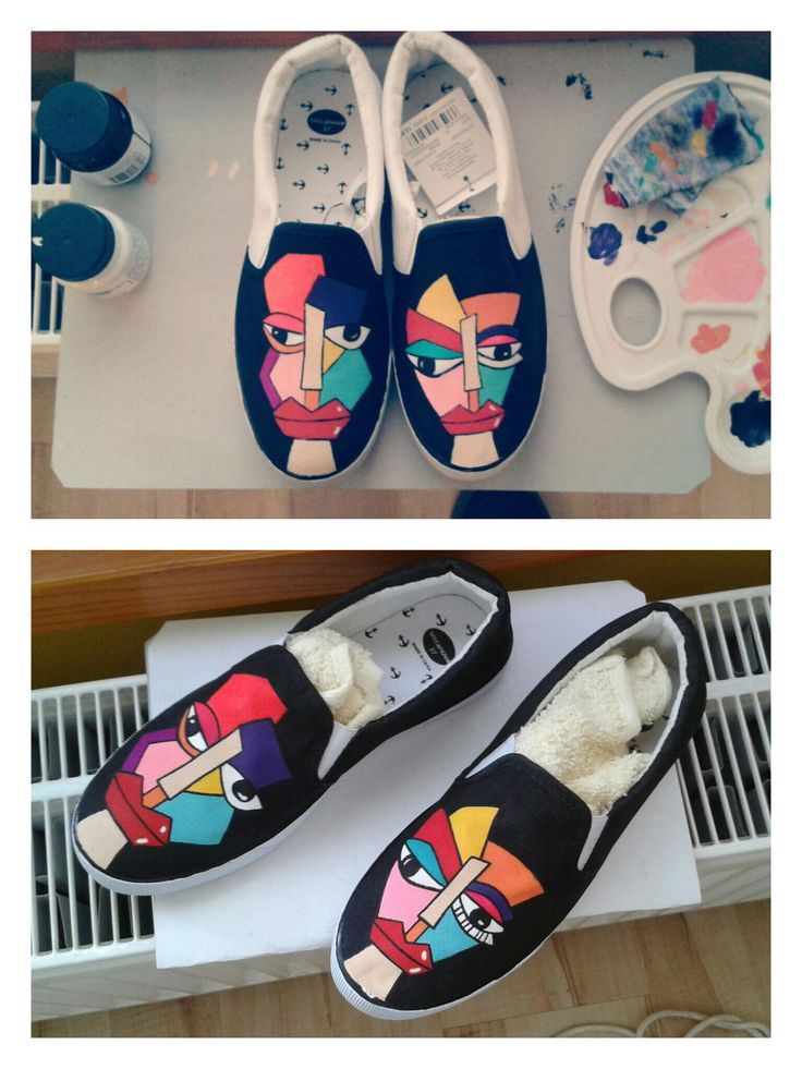 canvas painted shoes, slip-on