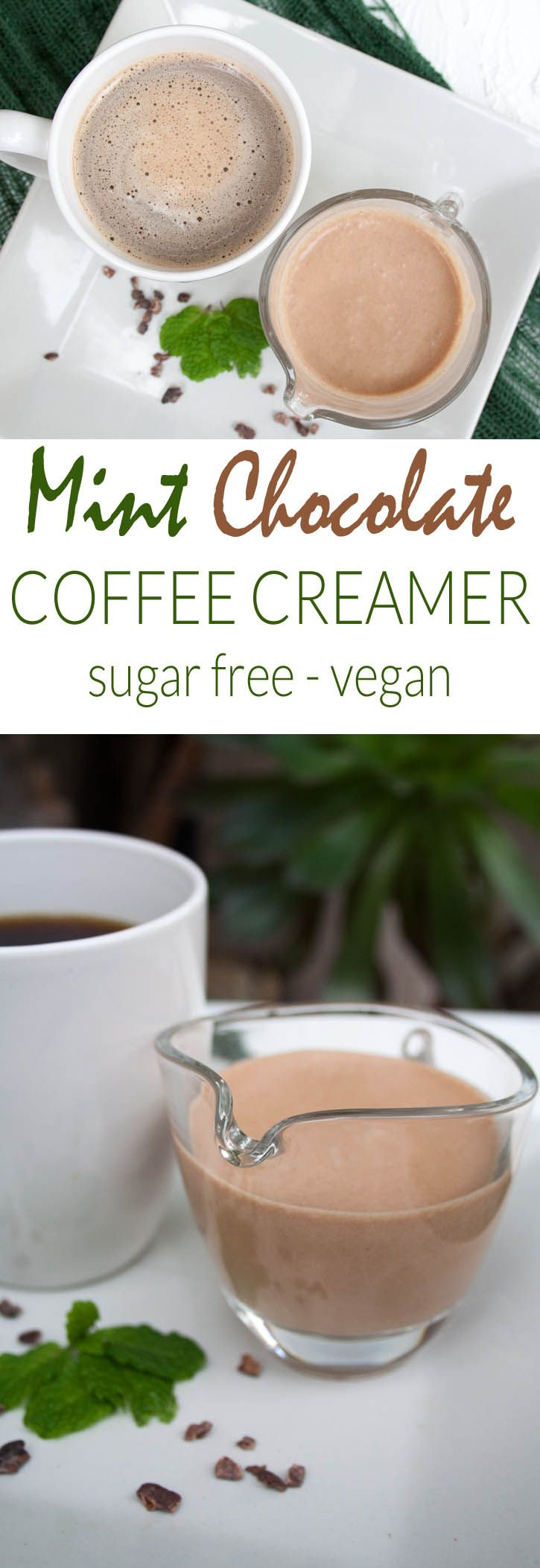 Mint Chocolate Coffee Creamer (vegan, gluten free, sugar free) - This recipe is made with only five ingredients, and takes only a couple minutes to make.